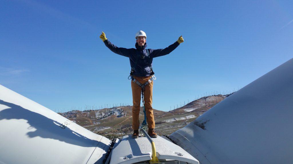 Davey on Wind Turbine.  Yikes!